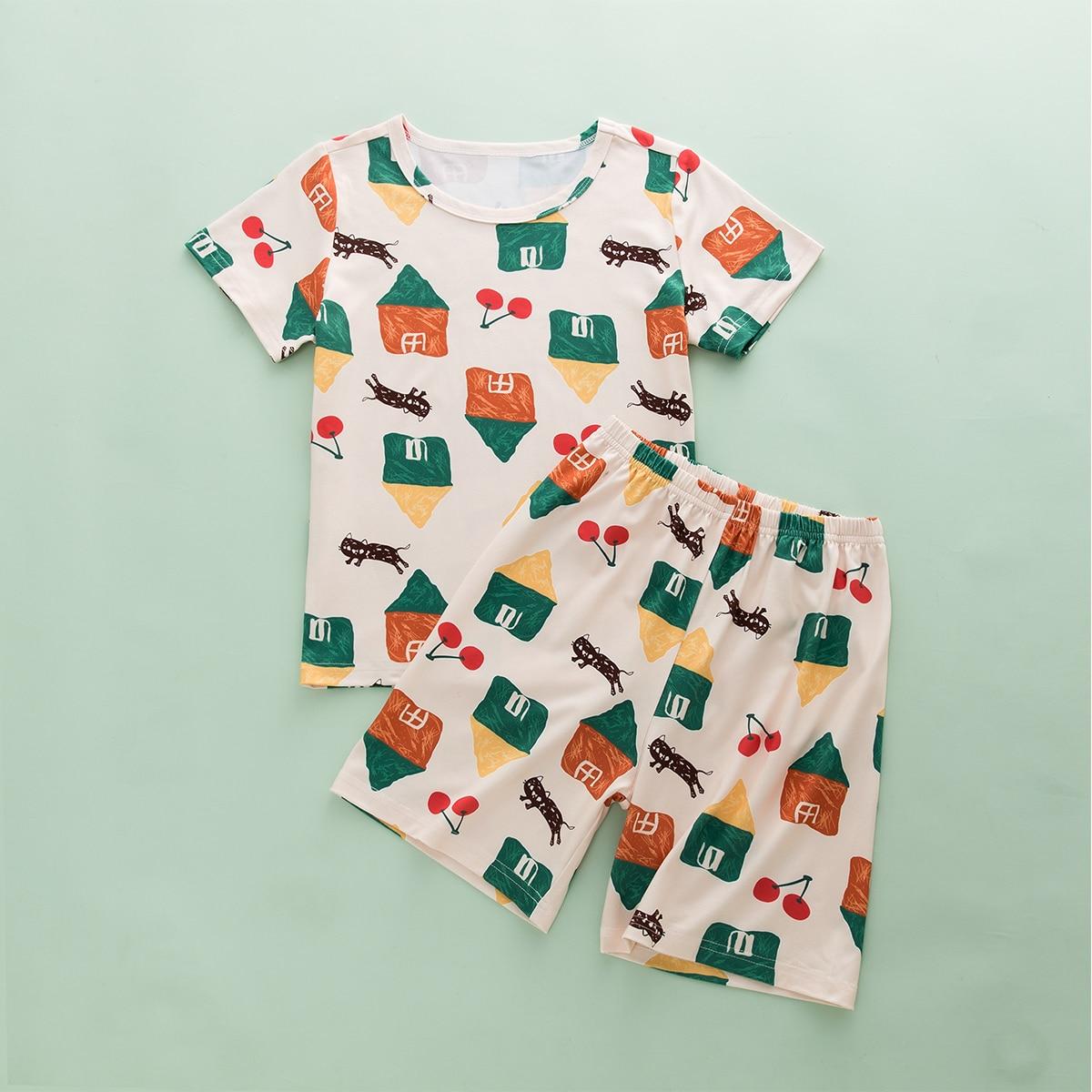 Многоцветный Мультяшный принт милый Домашняя одежда для мальчиков фото