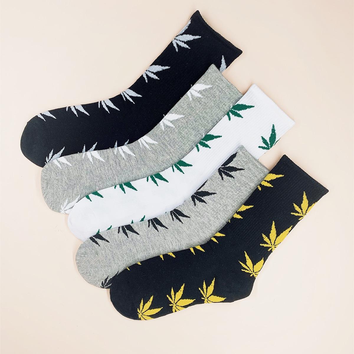 5 пар мужские носки с узором листа