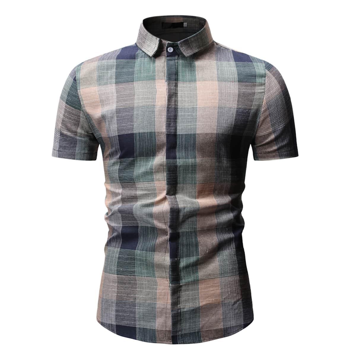 Многоцветный Однобортный Клетчатый Институтский Мужские рубашки фото