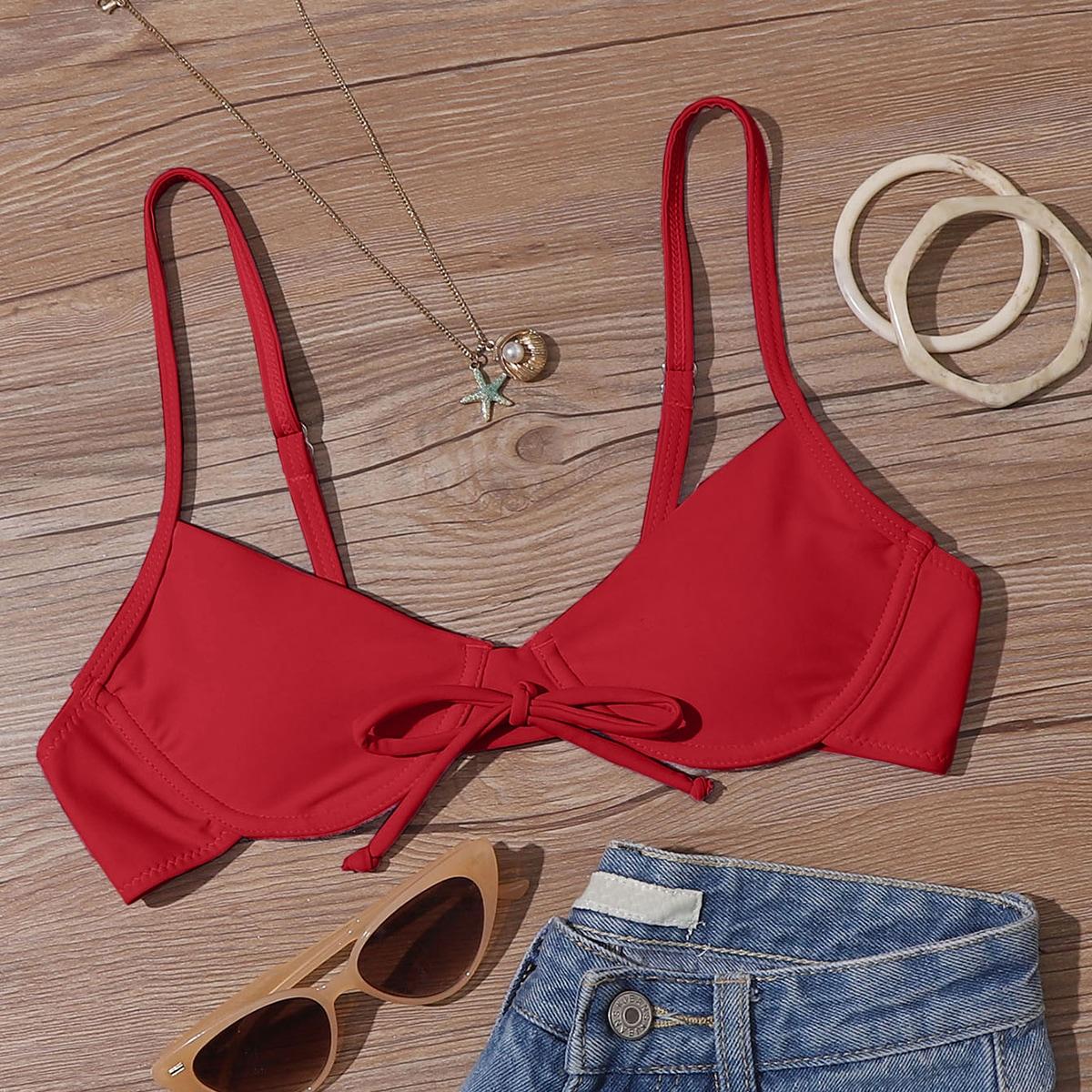 shein Bordeaux Sexy Vlak Bikini top Knoop Vooraan