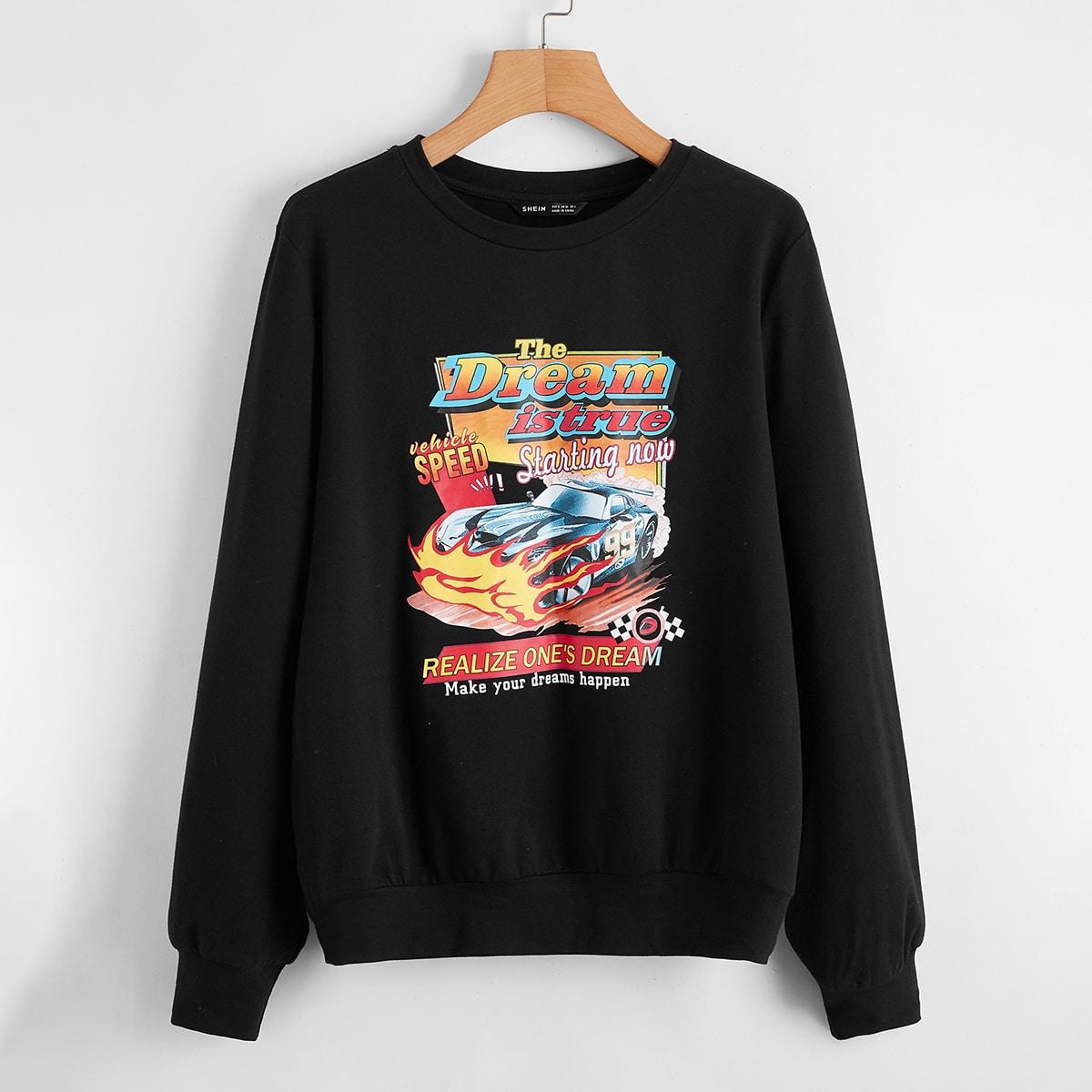 SHEIN / Slogan and Car Print Sweatshirt