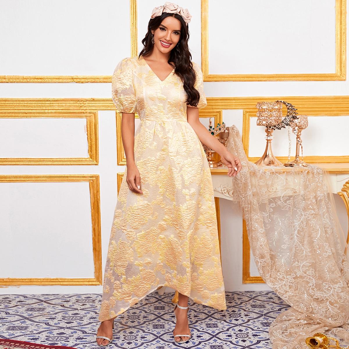Жёлтые Одноцветный Очаровательный Платья фото