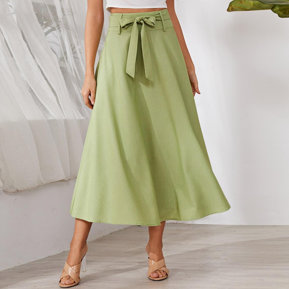 Расклешенная юбка с молнией и поясом фото
