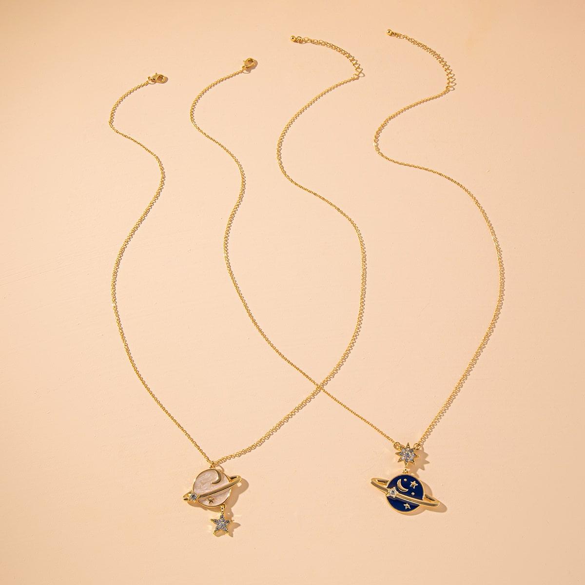 SHEIN / 2 Stücke Halskette mit Strass Stern Dekor