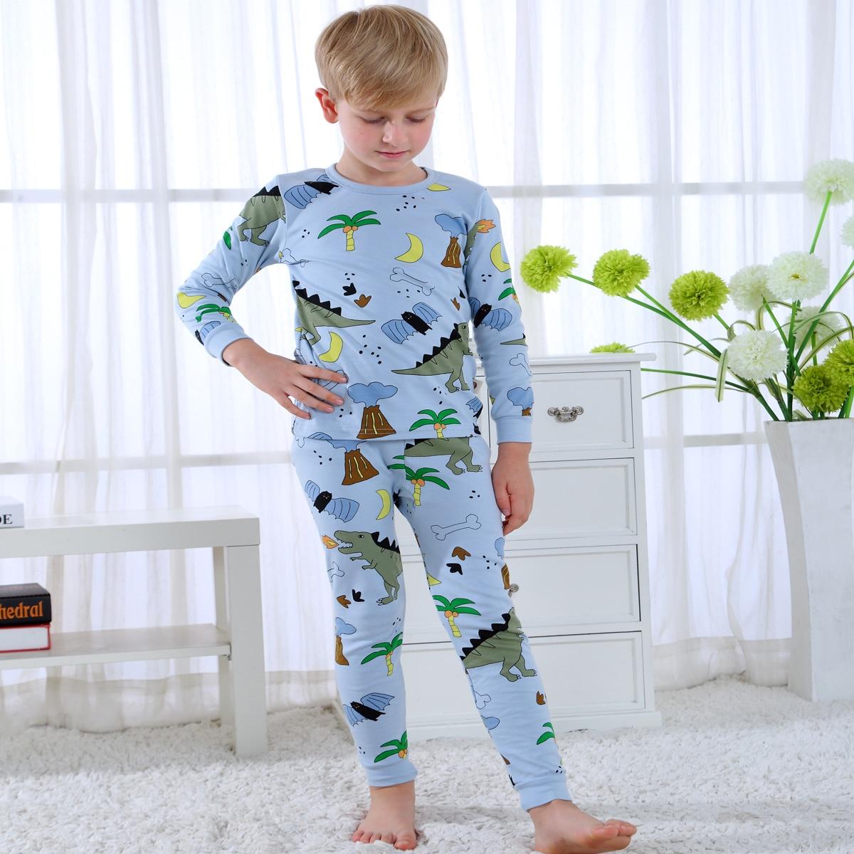 Нежно-голубой Мультяшный принт милый Домашняя одежда для мальчиков от SHEIN