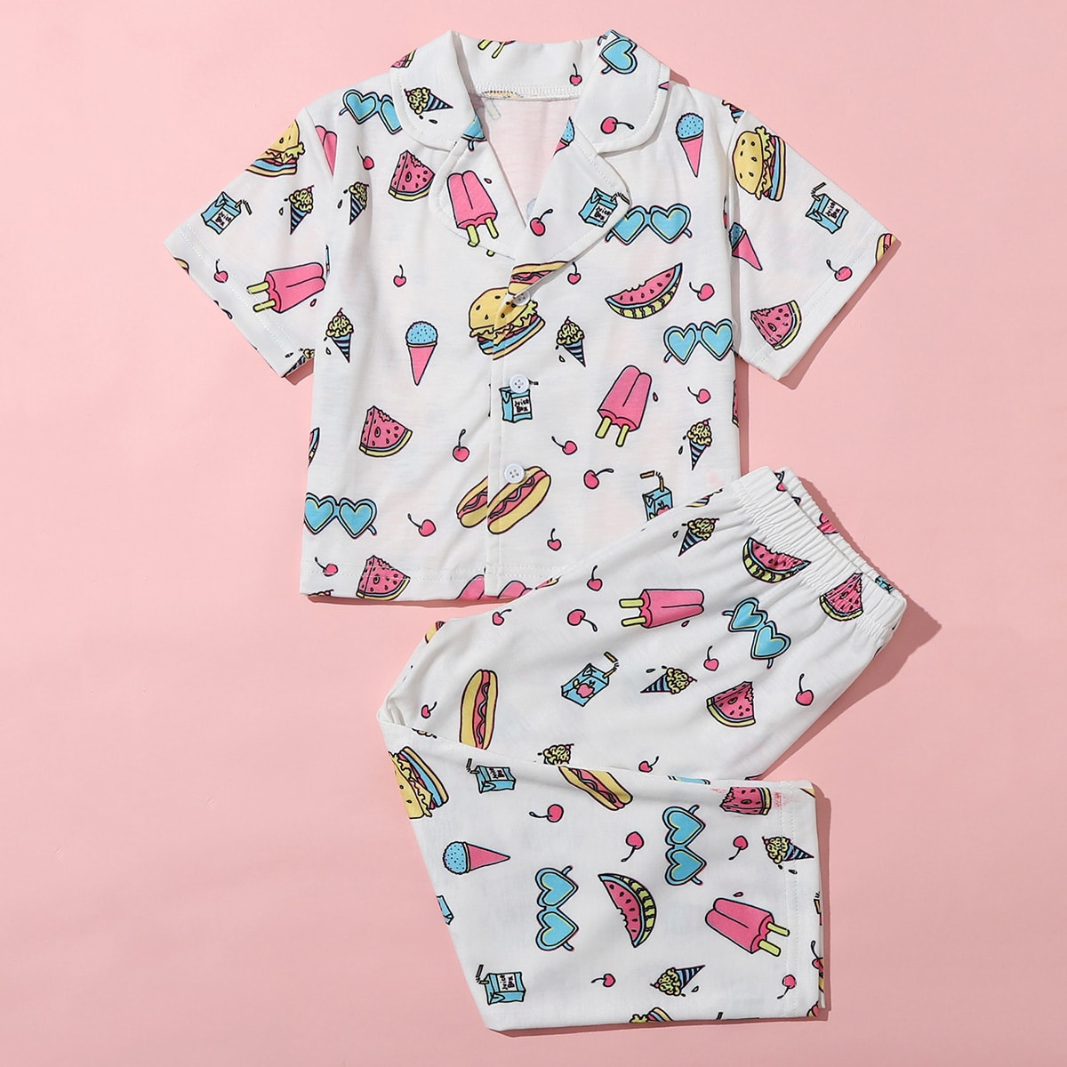 Белый Мультяшный принт милый Домашняя одежда для девочек от SHEIN