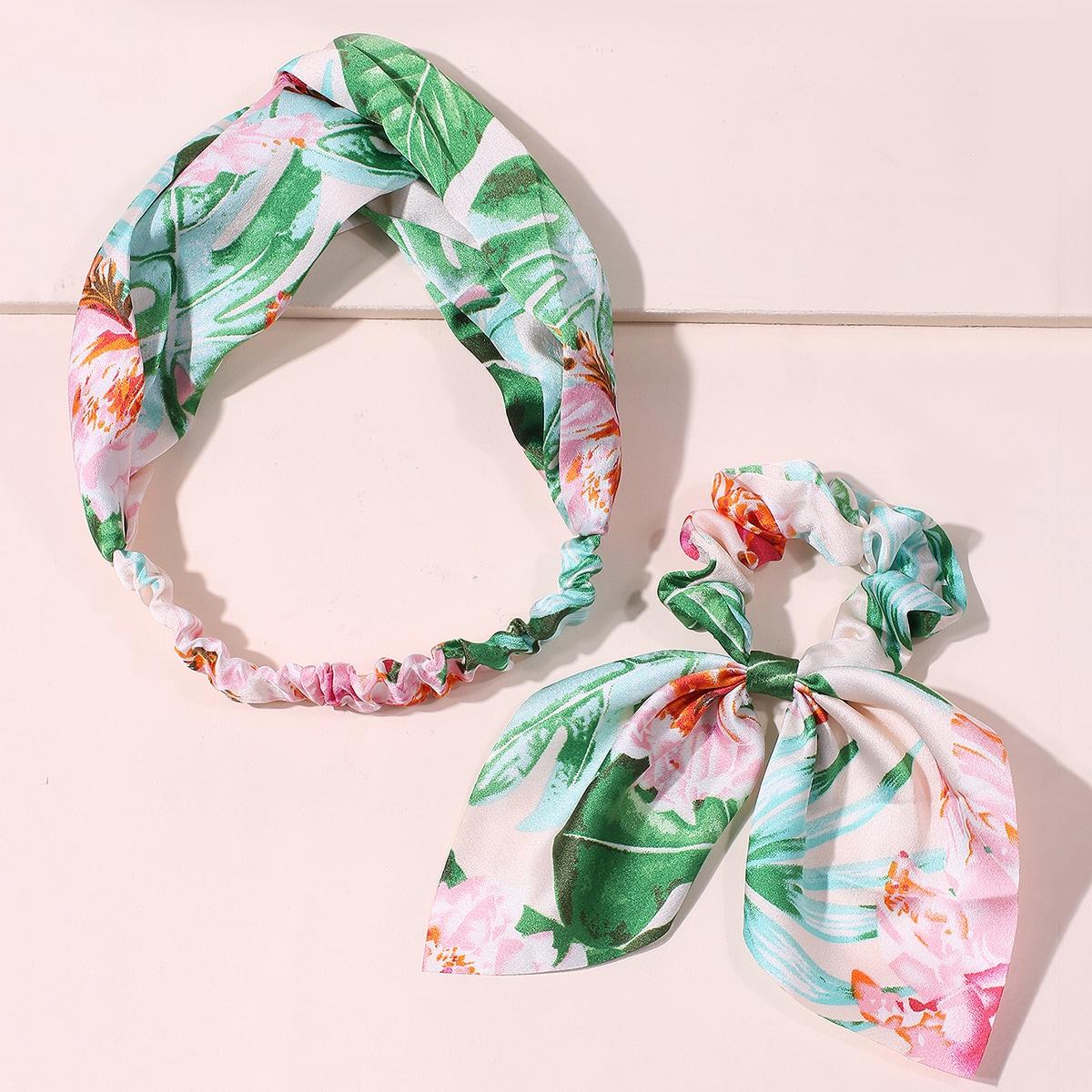 2шт повязка для волос и повязка на голову с тропическим узором от SHEIN