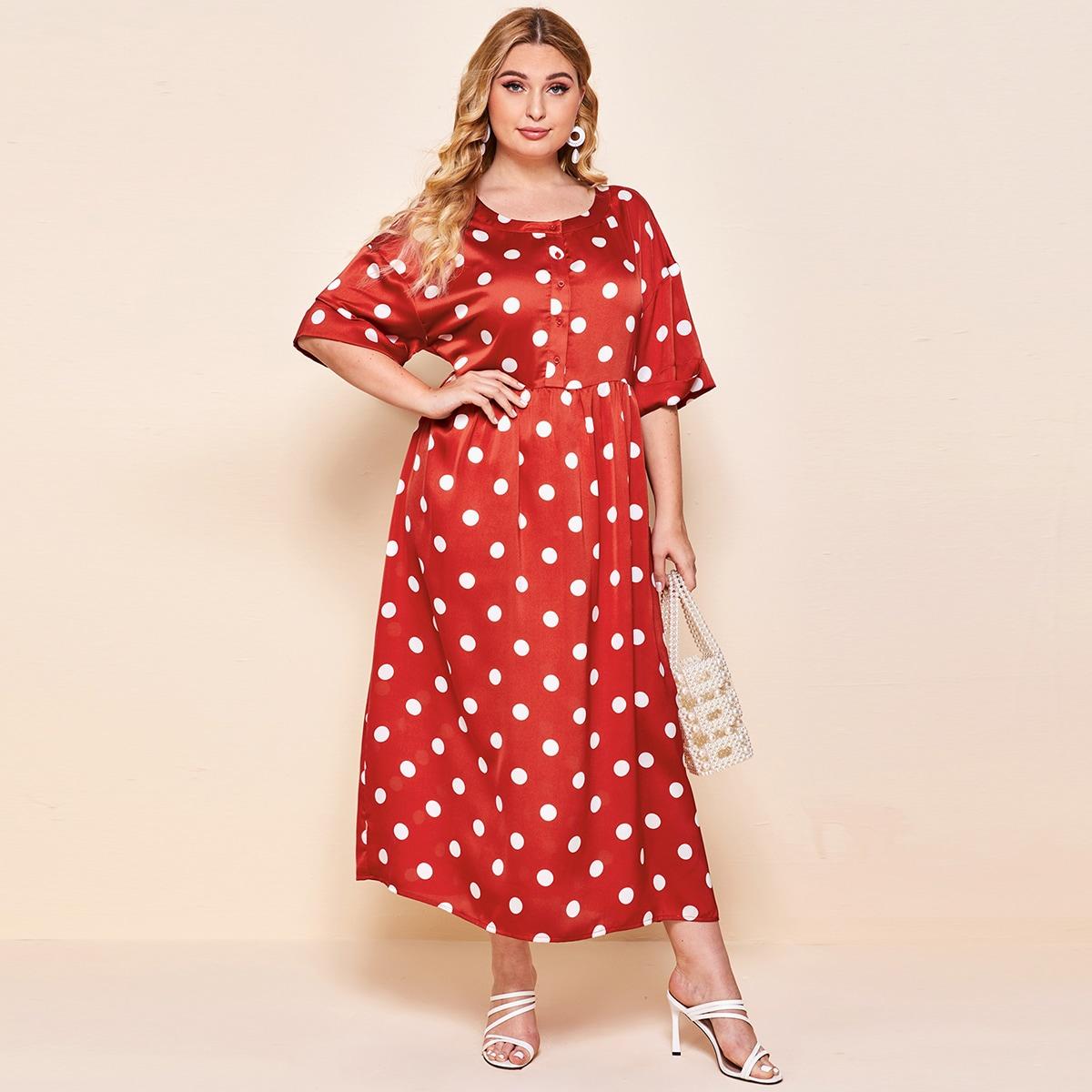 Платье в горошек с пуговицами размера плюс фото