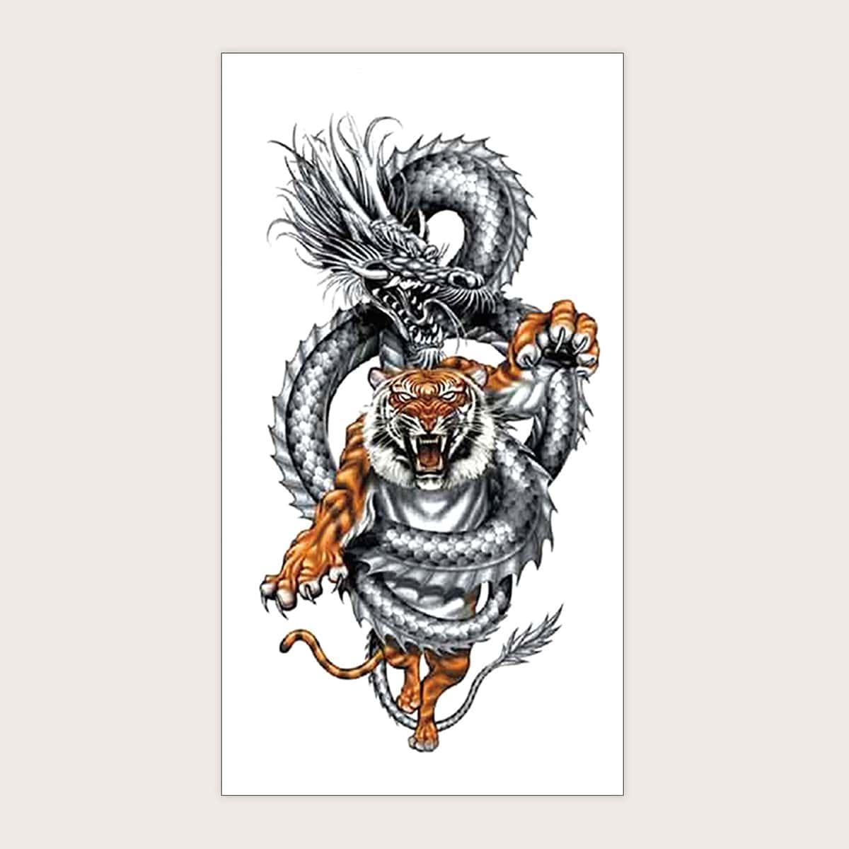 Стикер татуировки с принтом дракона и тигра 1 лист