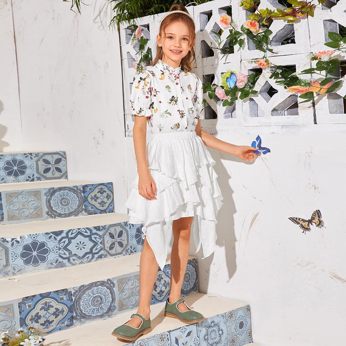 Юбка с оборкой и блузка с цветочным принтом, оборкой для девочек фото