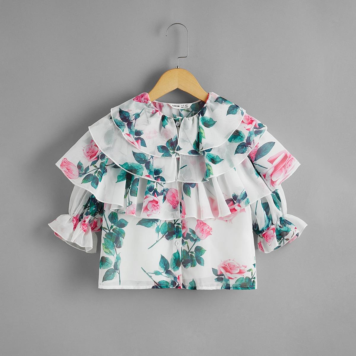 Блузка 2 в 1 с цветочным принтом и оборкой для девочек от SHEIN
