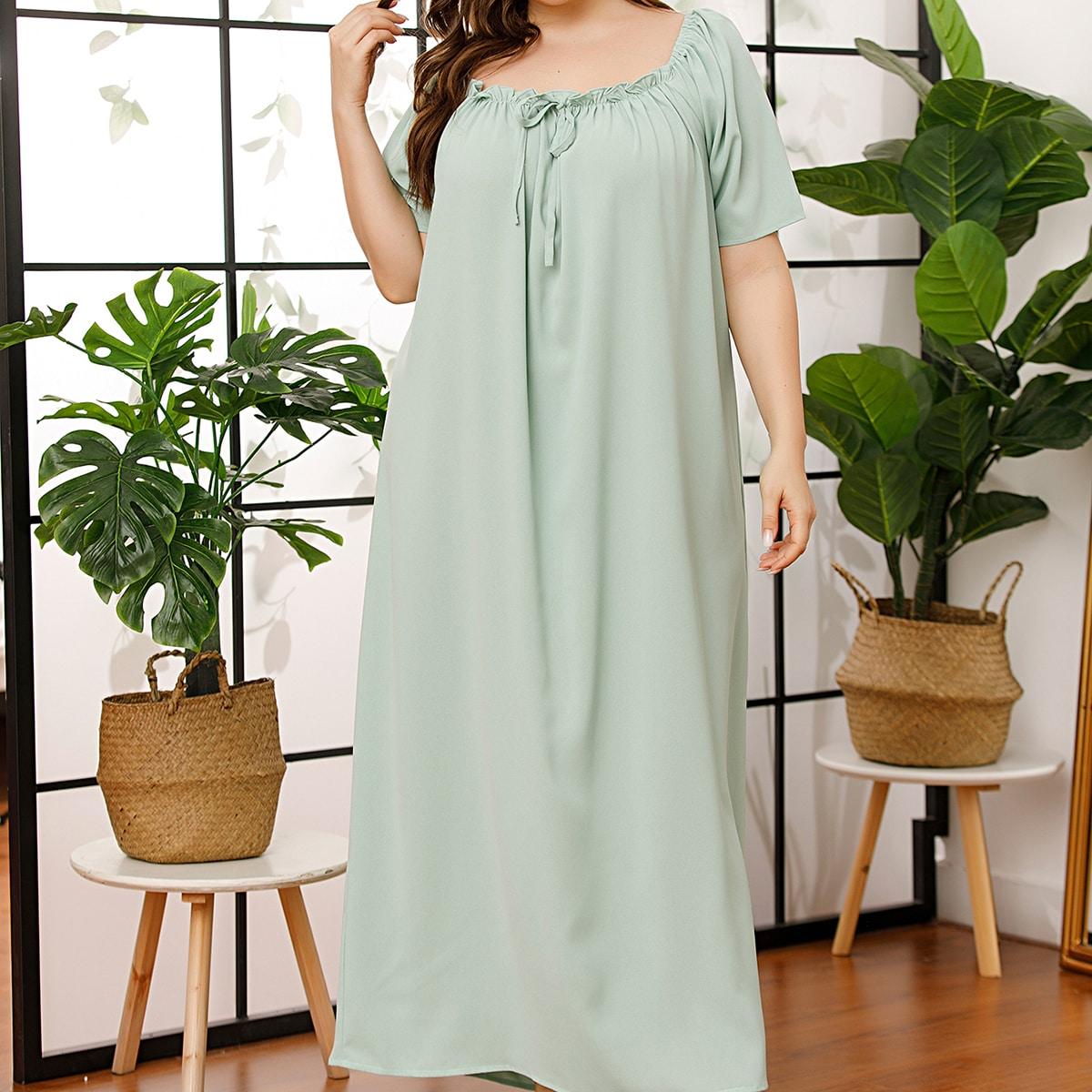 Мятно-зеленый с бантом Одноцветный милый Ночная рубашка размер плюс фото
