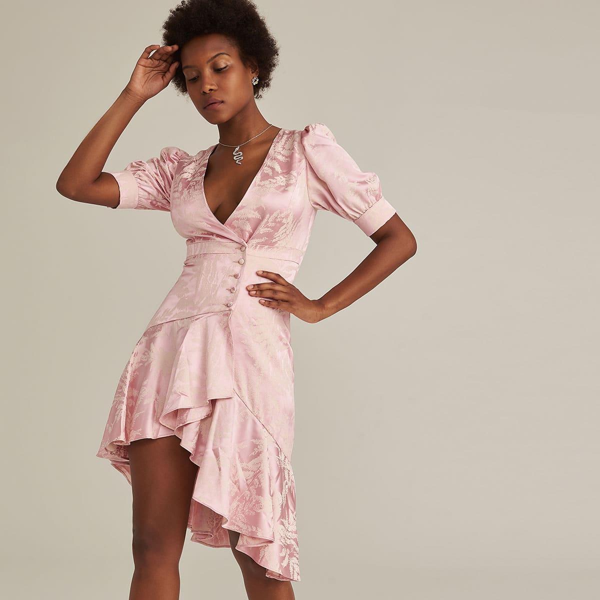 Premium Jacquard Satin Kleid mit Knöpfen vorn und asymmetrischem Raffungsaum