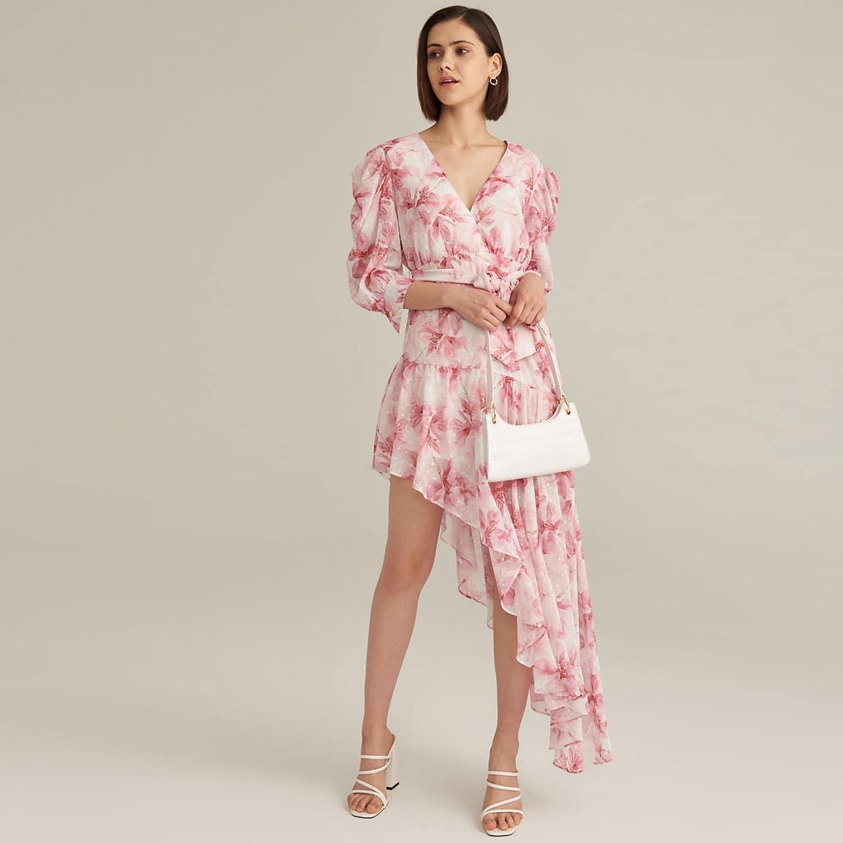 Premium Robe ceinturée asymétrique avec manches froncées
