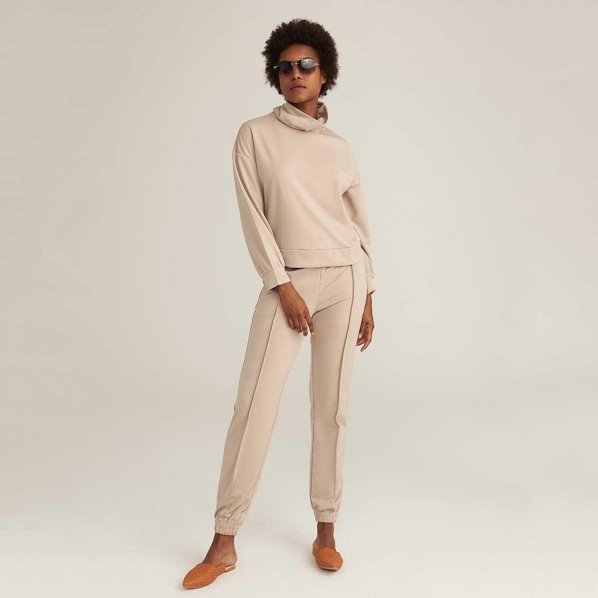 PREMIUM Однотонный пуловер и брюки для бега на кулиске от SHEIN