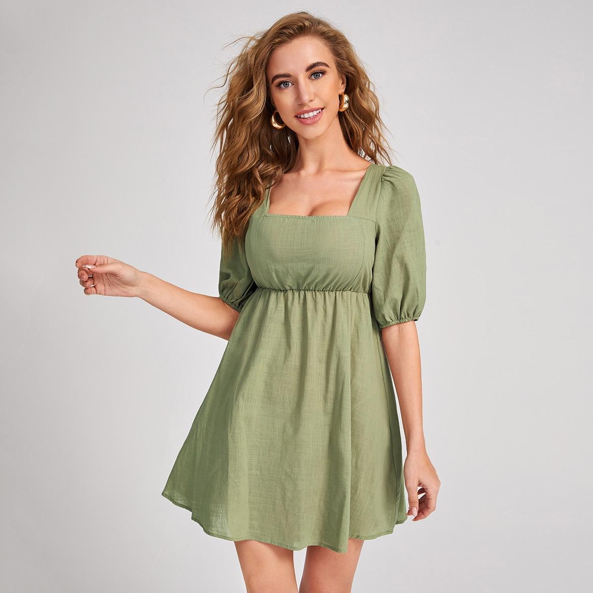 SHEIN / Vestidos Volante fruncido Liso Verde militar Casual