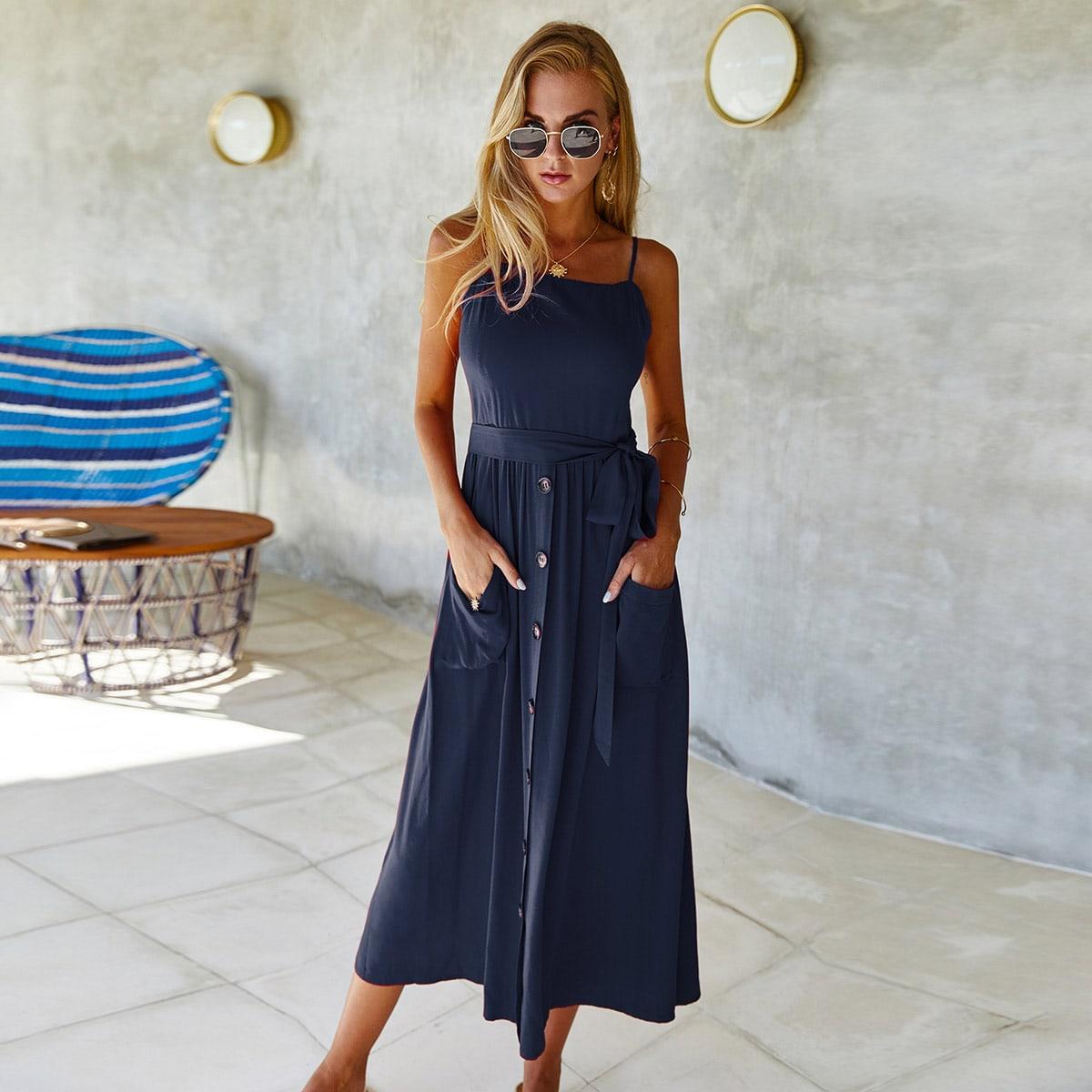 Темно-синий с карманами Одноцветный Повседневный Платья фото