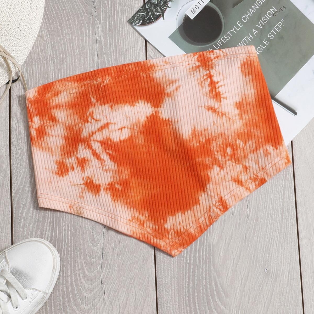 Оранжевый Галстук на спине Галстуковый краситель Бохо Женские топы от SHEIN
