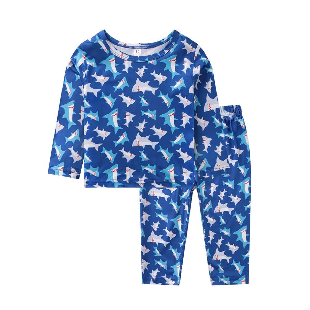 Синие Мультяшный принт милый Домашняя одежда для мальчиков от SHEIN