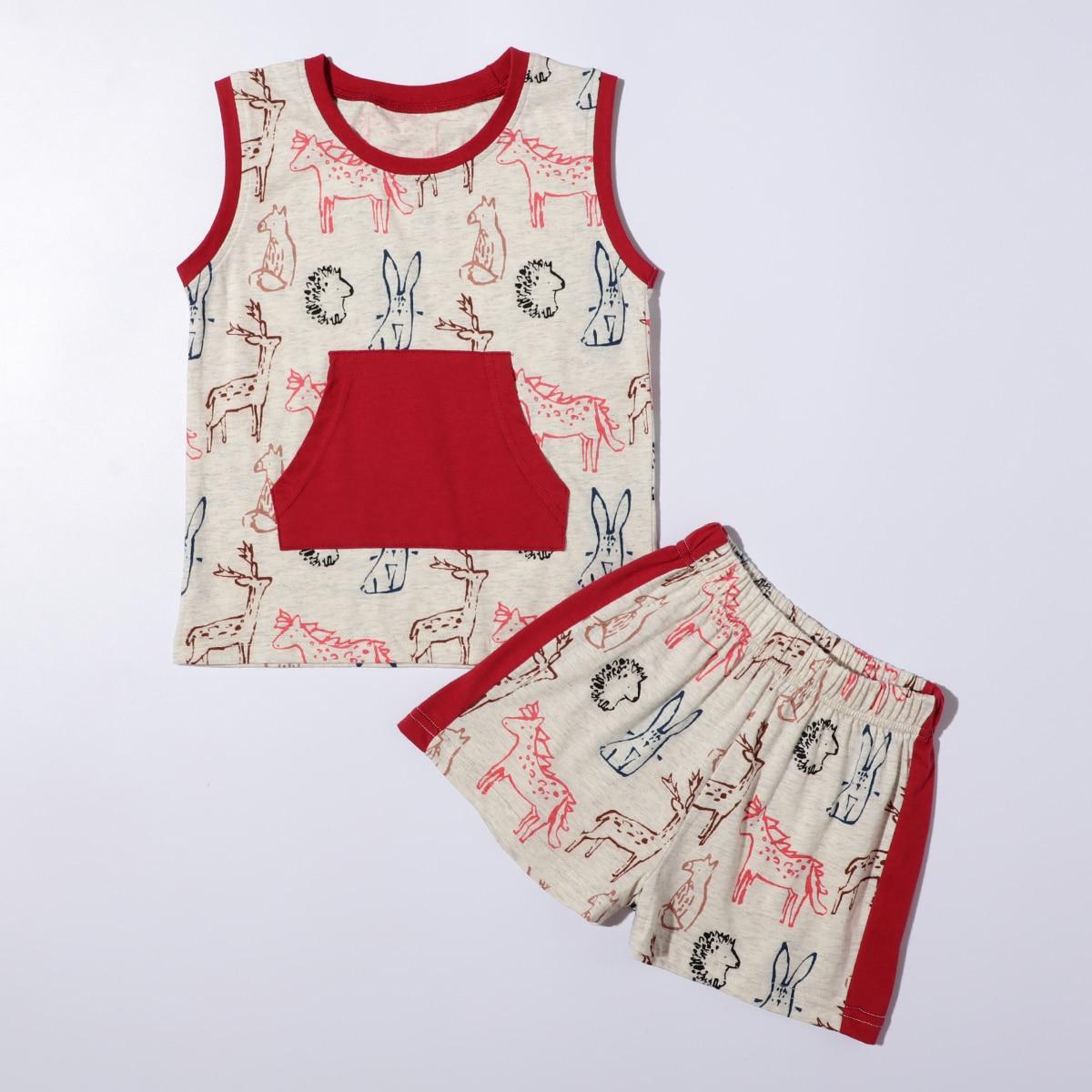 многоцветный с карманами Мультяшный принт милый Домашняя одежда для мальчиков от SHEIN