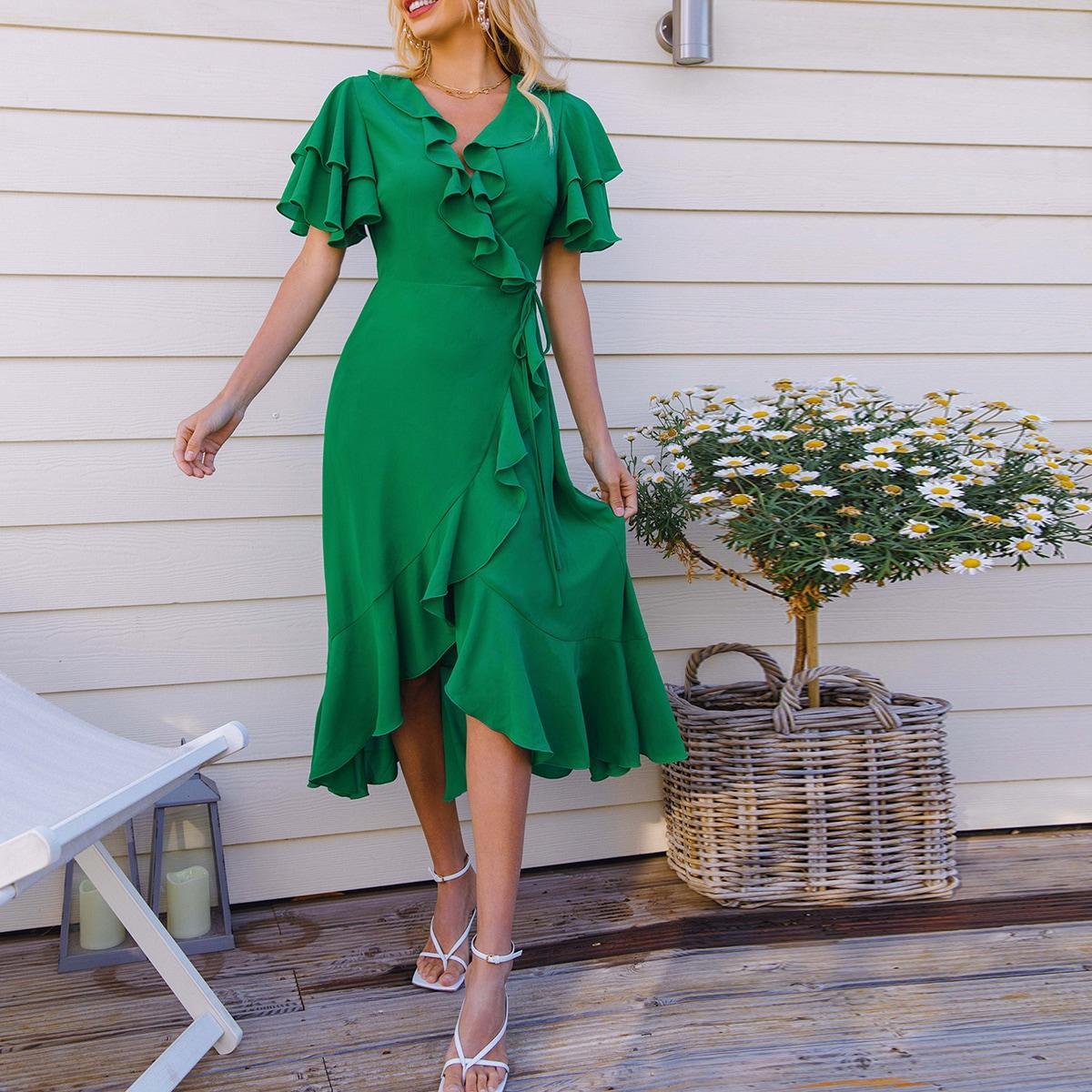 Платье с узлом и оборкой фото