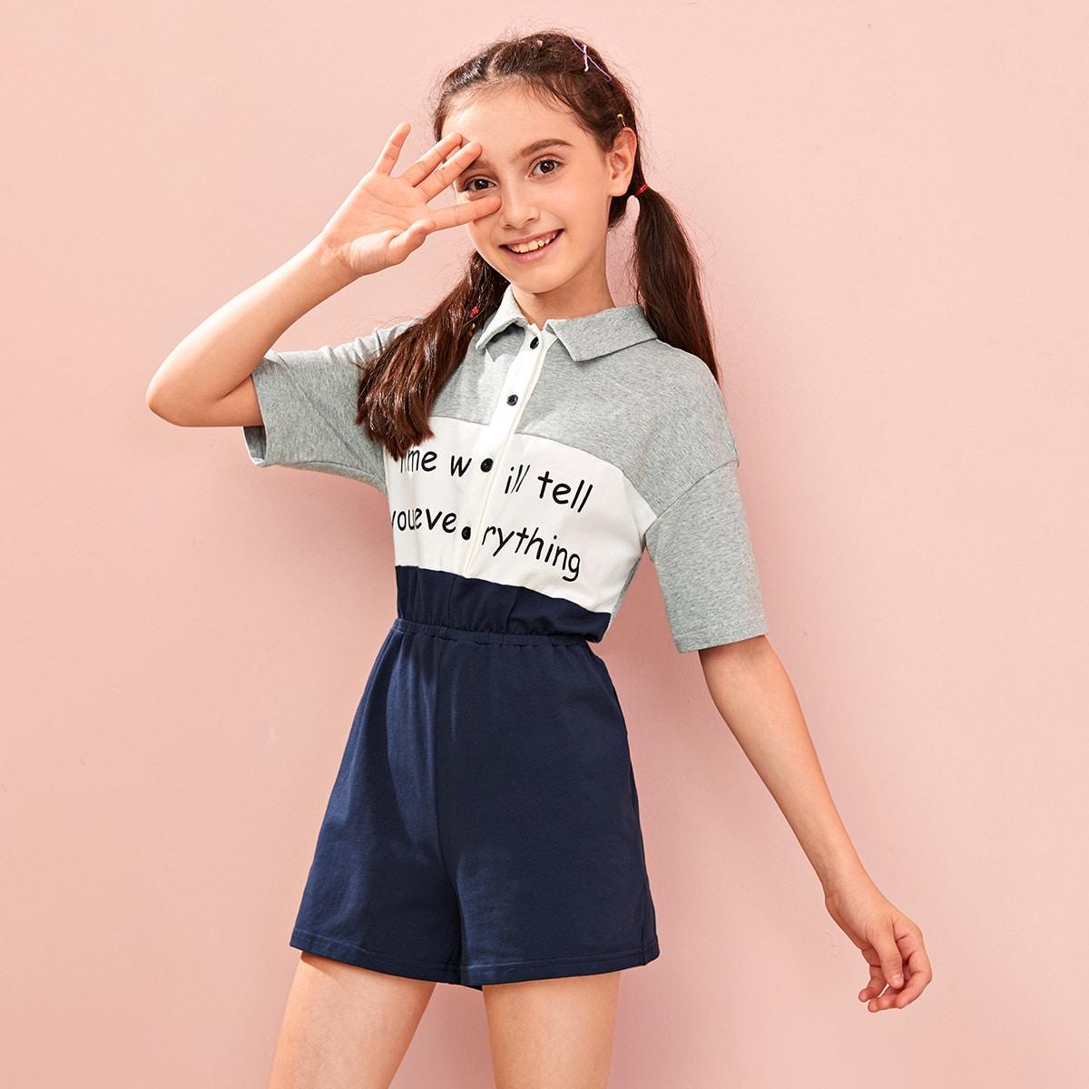 SHEIN / Girls Slogan Graphic Drop Shoulder Colorblock Polo Romper