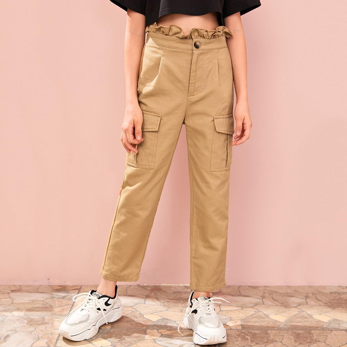 SHEIN / Hose mit Papiertaschen auf Taille und seitlichen Taschen Flicken