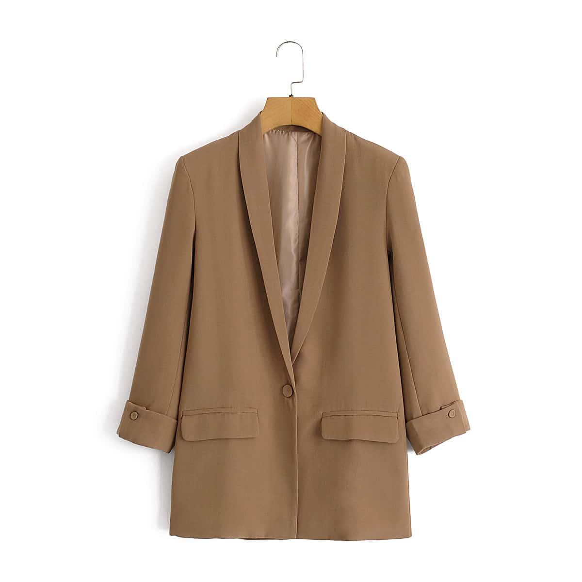 Желтовато бурый на пуговицах Ровный цвет Повседневный Пиджаки от SHEIN