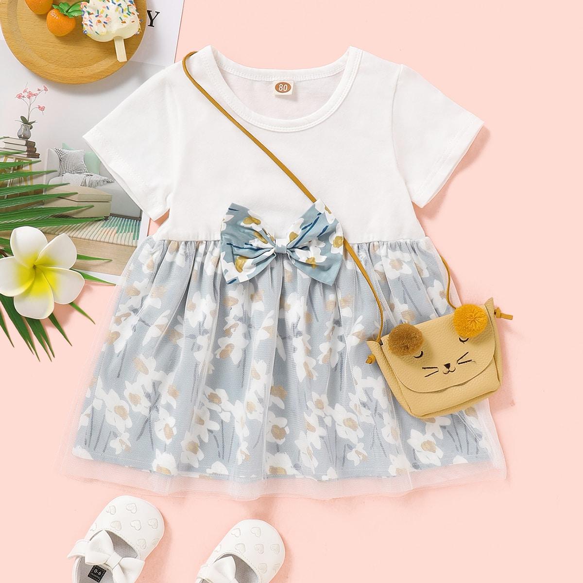 многоцветный Контрастная сетка Цветочный принт милый Платья для малышей от SHEIN