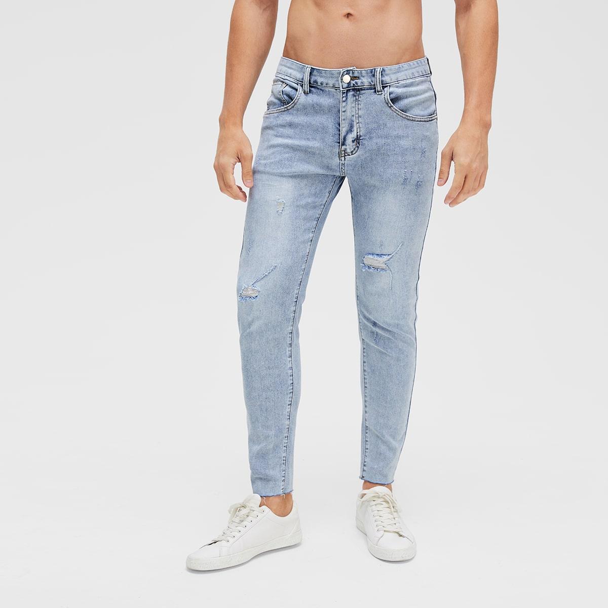 Легкий Синий Умывания Разрезы Одноцветный Повседневный Мужские джинсы фото