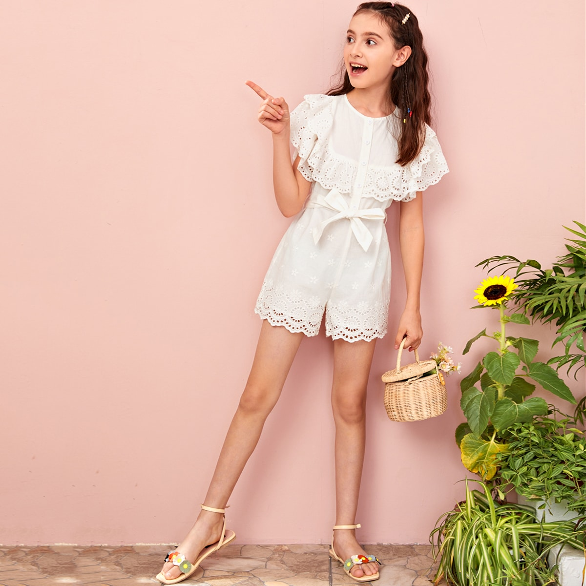 SHEIN / Girls Eyelet Embroidered Panel Self Belted Romper