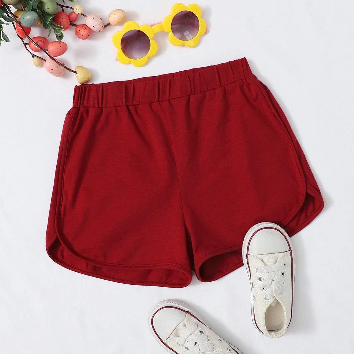 Однотонные шорты для девочек фото
