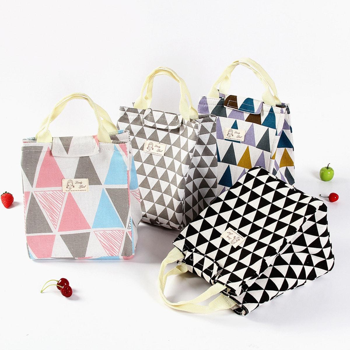 SHEIN / 1pc Geometric Pattern Lunch Box Bag