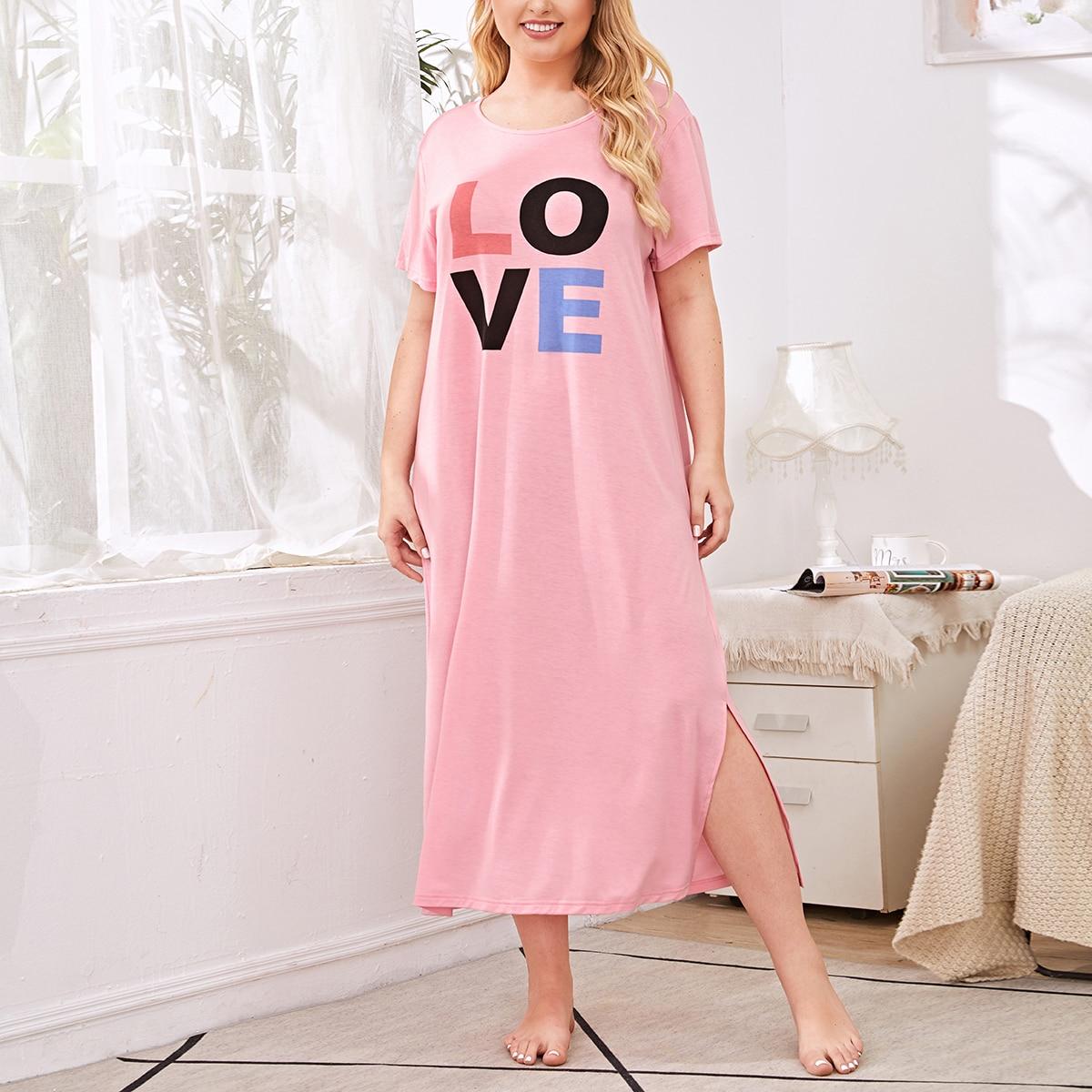 Нежний Розовый Разрез Текст милый Ночная рубашка размер плюс фото
