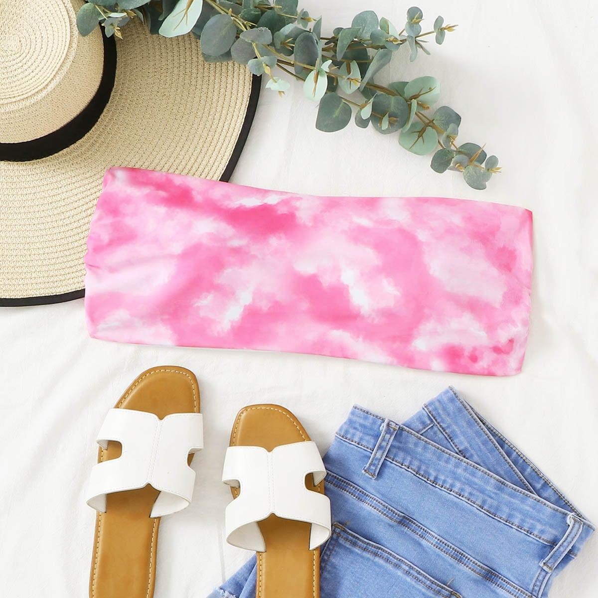 Розовые Галстуковый краситель Бохо Бикини-топ размер плюс фото