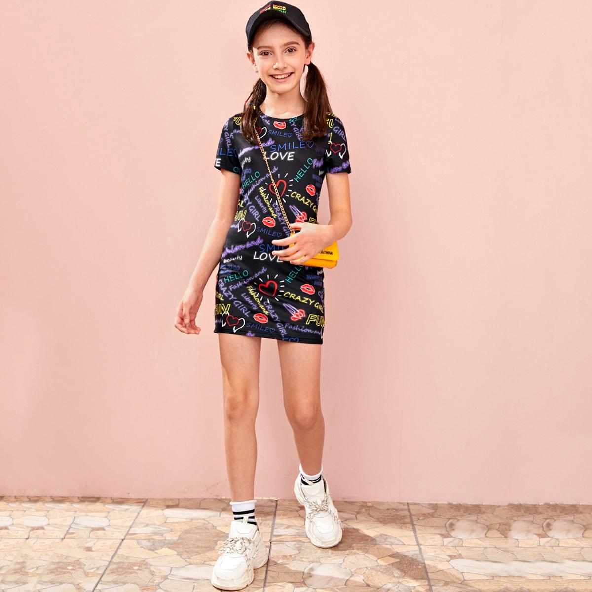 Облегающее платье с текстовым принтом для девочек от SHEIN
