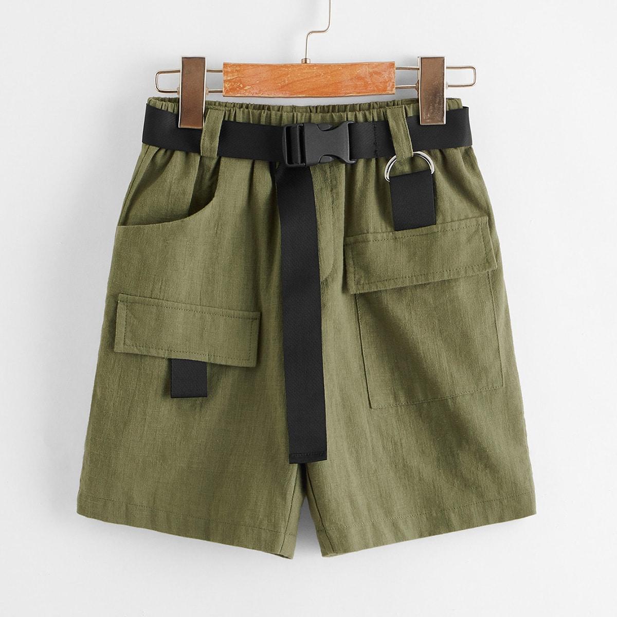 Шорты с карманом и поясом для мальчиков от SHEIN