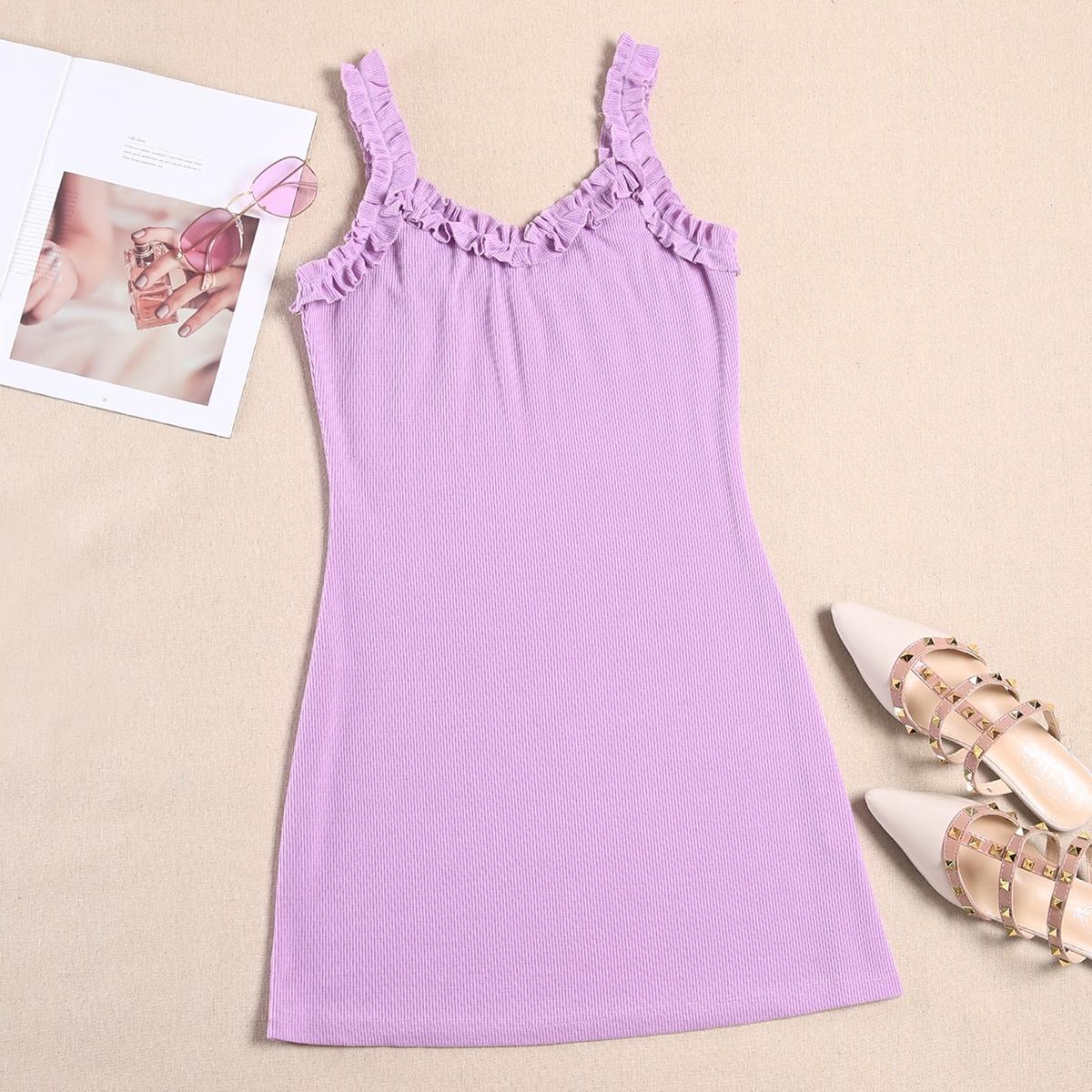 Сиреневый Фиолетовый Оборка Одноцветный Повседневный Платья фото