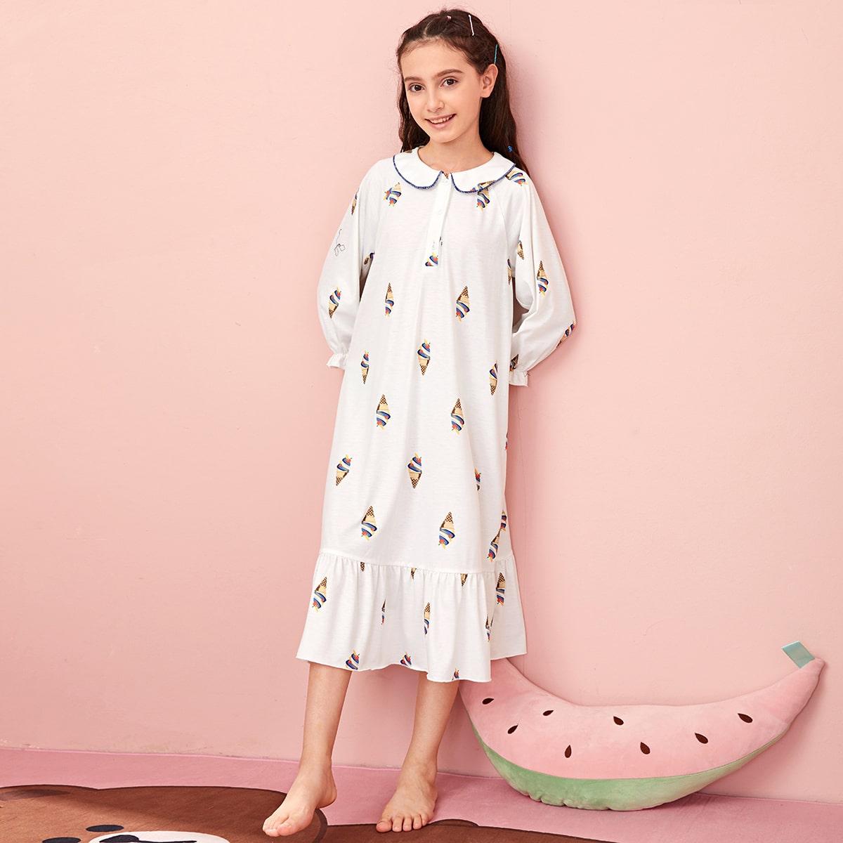 Ночная рубашка на пуговицах для девочек фото