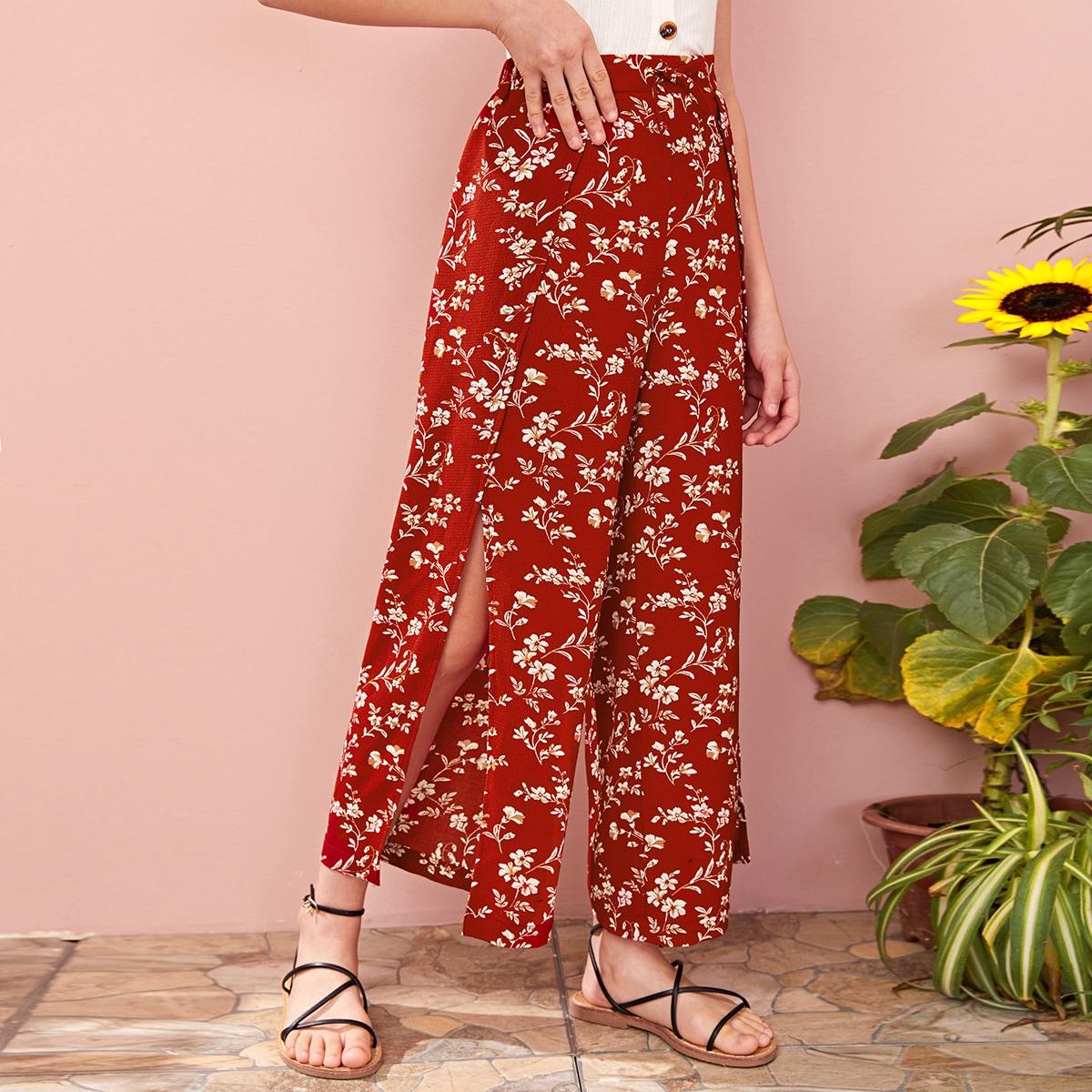 SHEIN / Hose mit Schleife Detail, seitlichem Schlitz, Wickel Design, breitem Beinschnitt und Blumen Muster