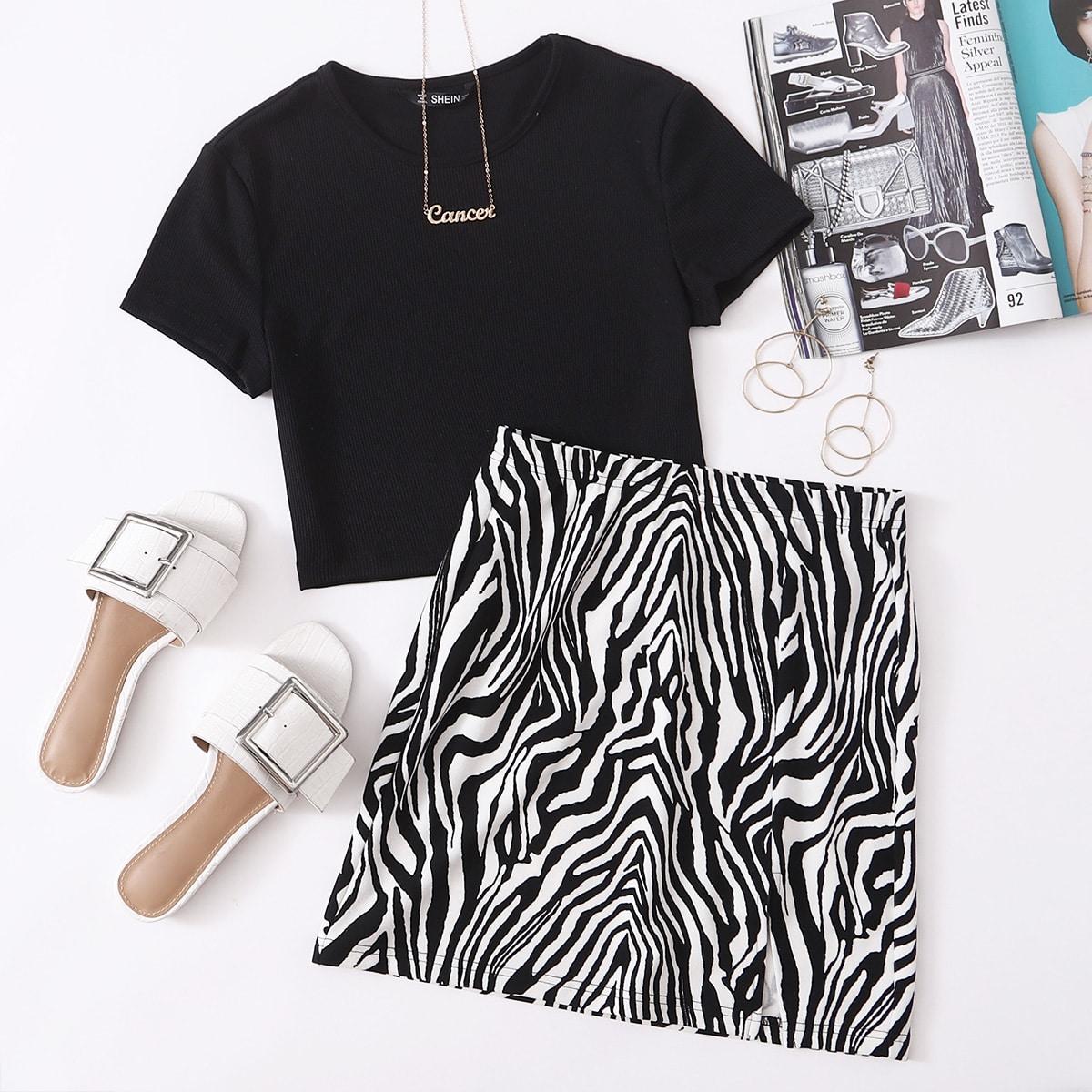 Трикотажный топ и юбка в полоску зебры с разрезом фото