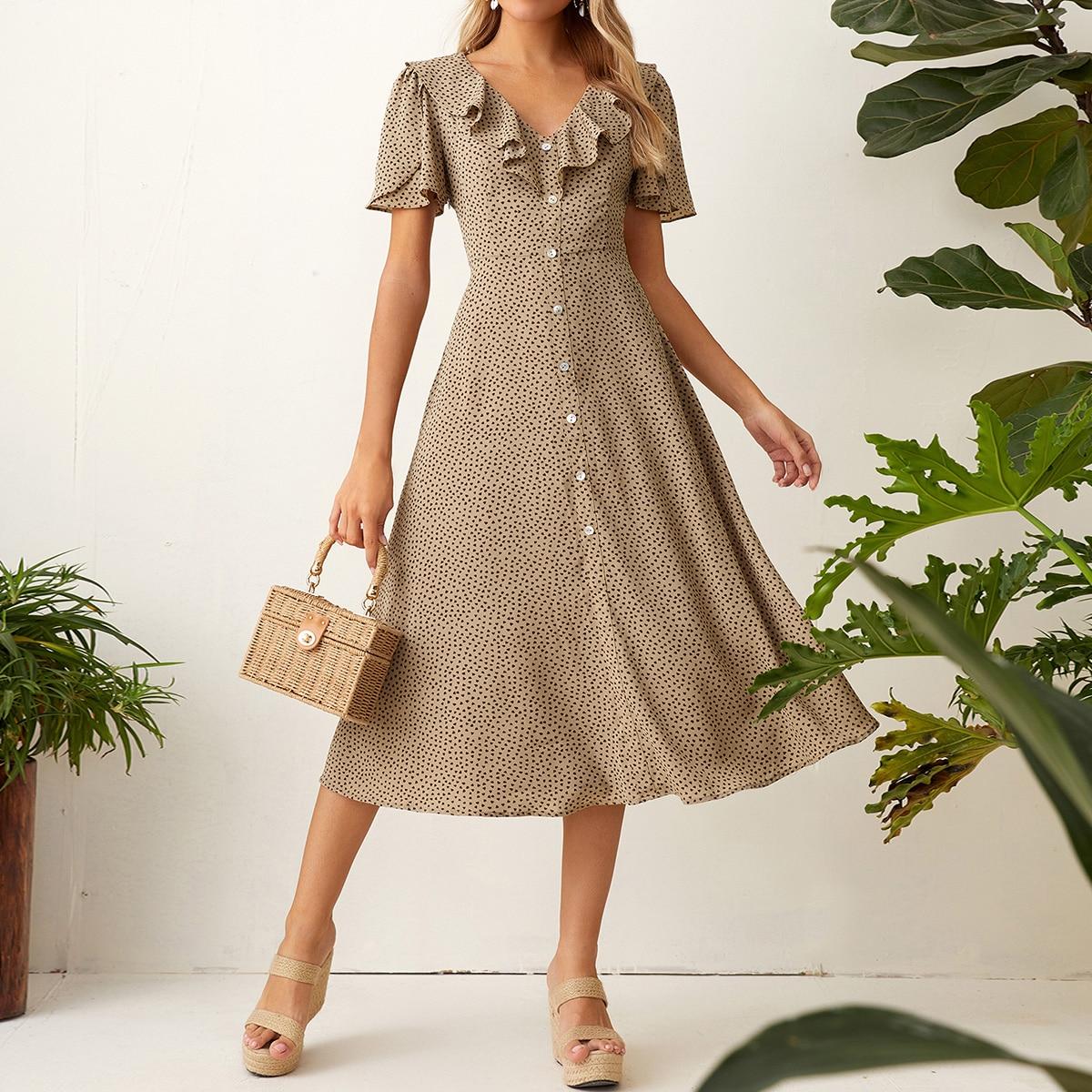 Платье с оборкой и пуговицами фото