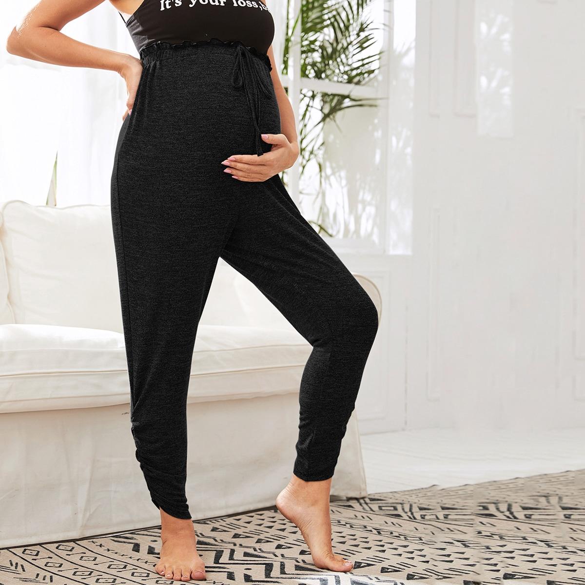 Брюки с узлом и присборенной талией для беременных от SHEIN