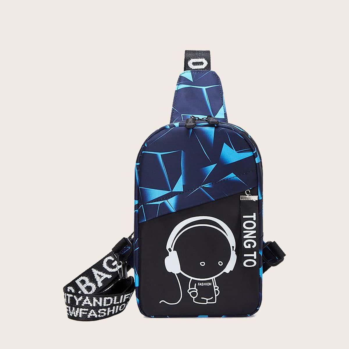 Мужская контрастная сумка с мультипликационным узором фото
