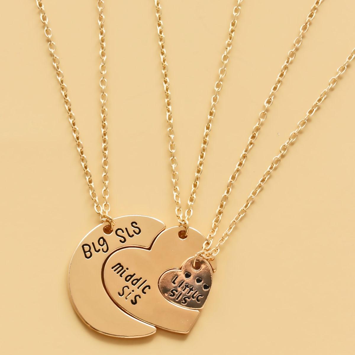 3шт ожерелье с сердечком и текстовой гравировкой для девочек