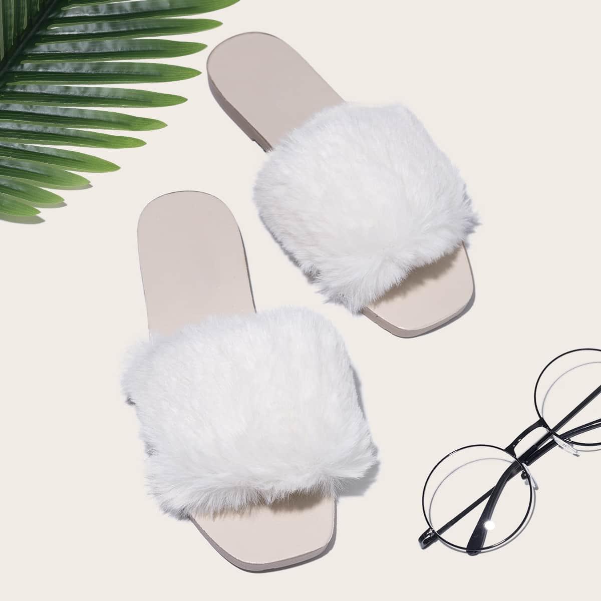 SHEIN / Open Toe Fluffy Decor Slippers