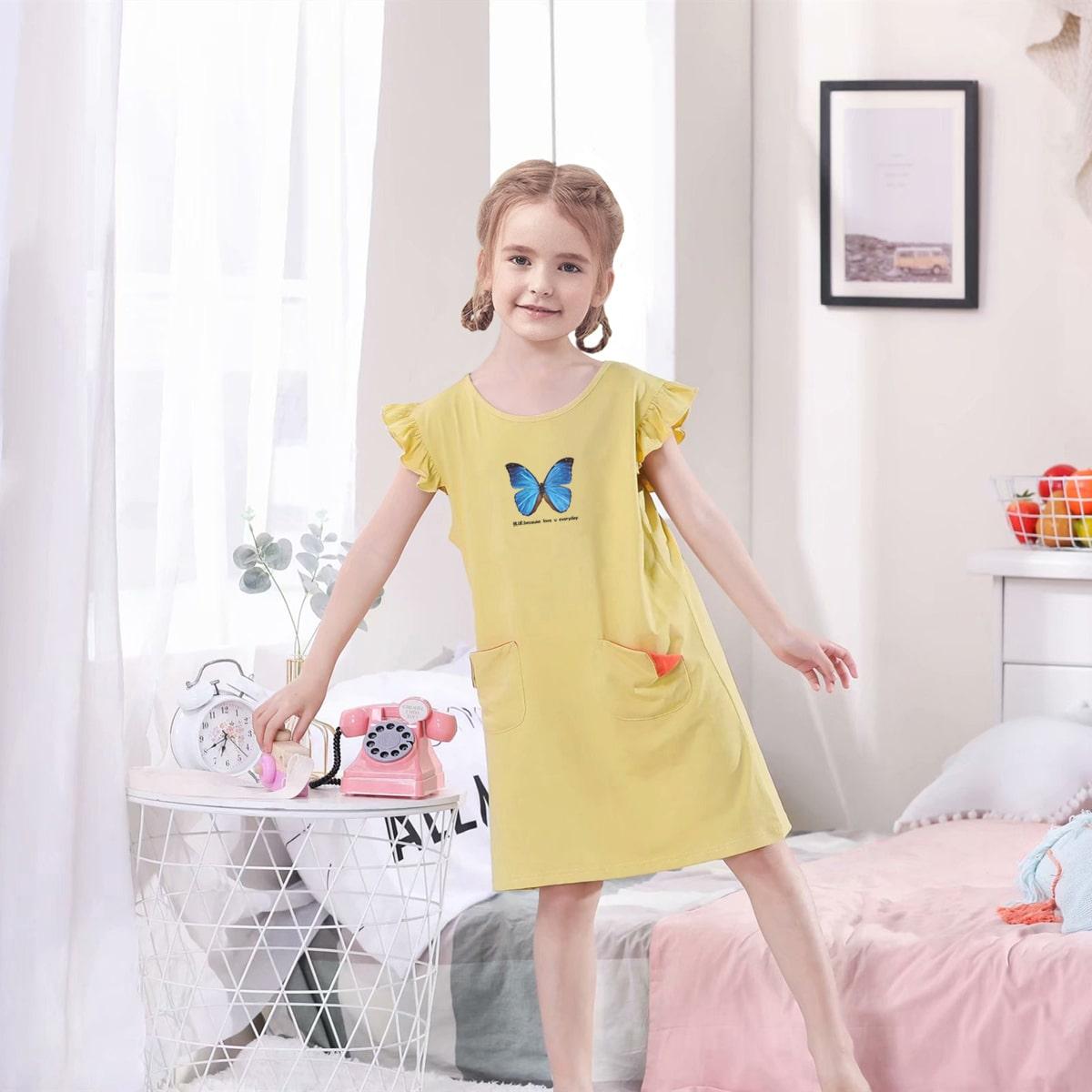 Жёлтые с карманами Животный принт милый Домашняя одежда для девочек от SHEIN