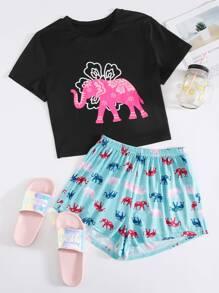 Elephant   Cartoon   Pajama   Print   Set