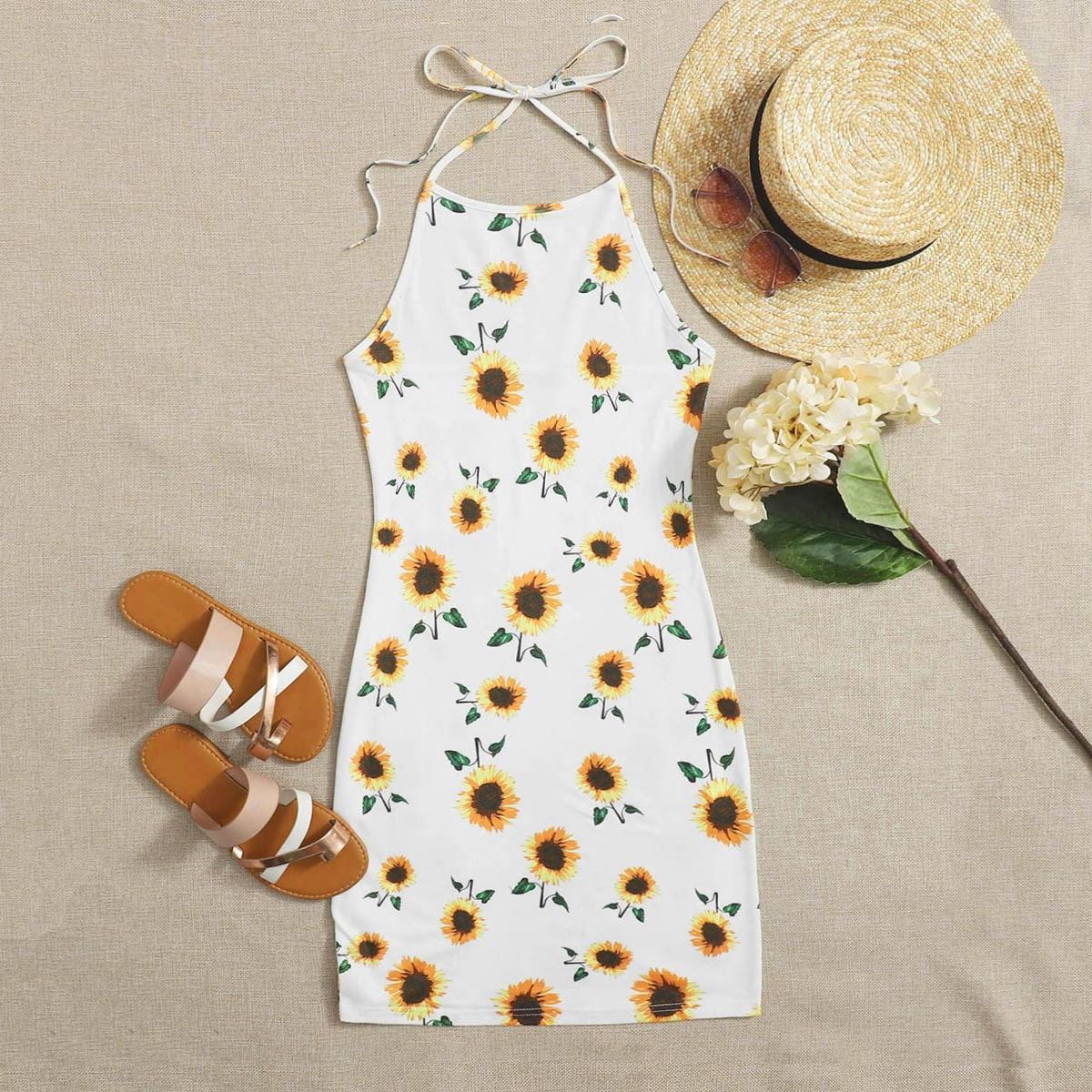 Облегающее платье-халтер с принтом подсолнуха фото