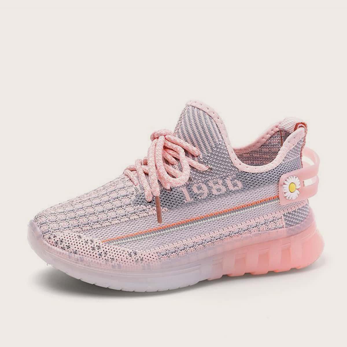Трикотажные кроссовки на шнурках для девочек от SHEIN